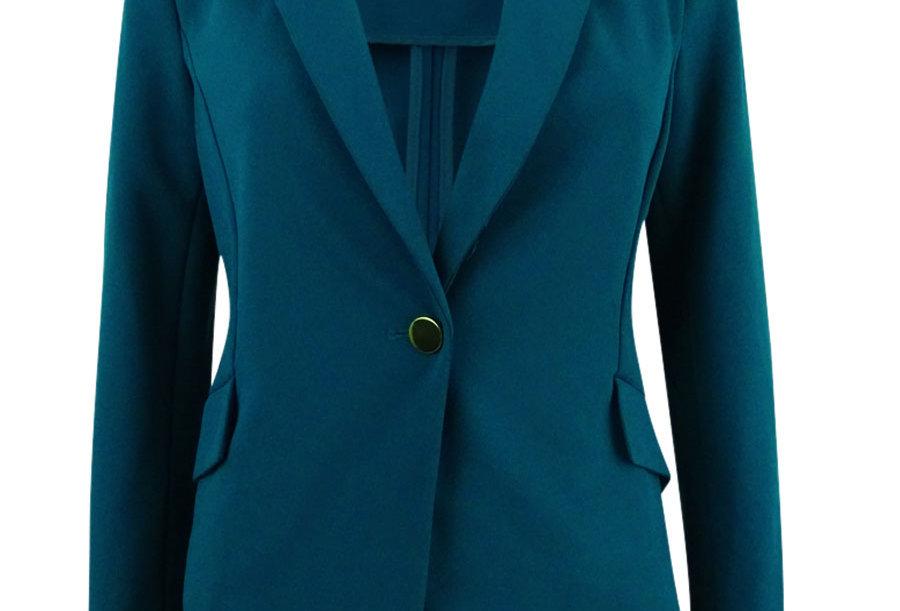 Calvin Klein Womens Single Button Closure Long Sleeves Blazer Green P52