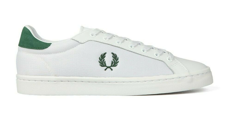 Fred Perry Lawn Leather Mesh Sneaker - White B5119 134