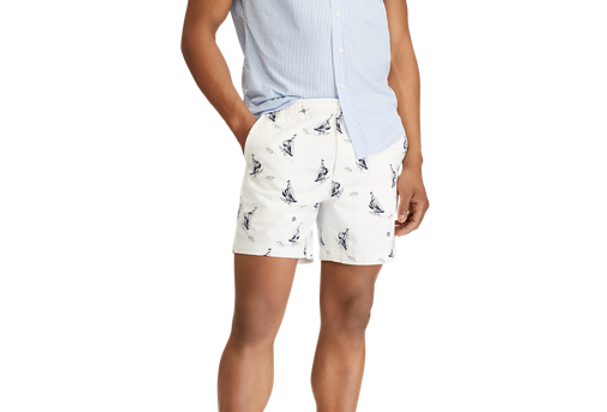 Ralph Lauren Men's Classic Fit Prepster Sailboat Print Shorts, White 33
