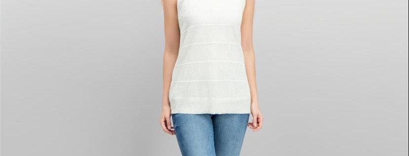 Calvin Klein Textured-Stripe Knit Shell Top, Latte P56