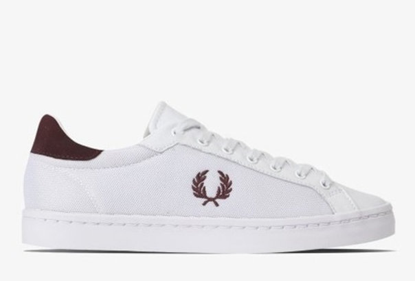 Fred Perry Lawn Leather Mesh Sneaker - White B5119 200