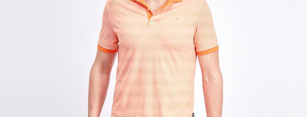 Calvin Klein men's liquid touch micro stripe polo shirt - Flame
