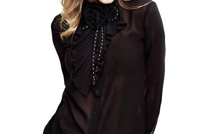 Guess Black Silk Women's Shirt With a Flower P96