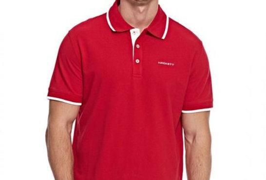 Hackett Men's Cotton Pique Polo, Red P45