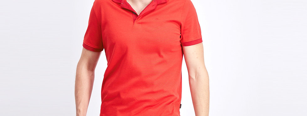 Calvin Klein men's liquid touch micro stripe polo shirt - High risk red