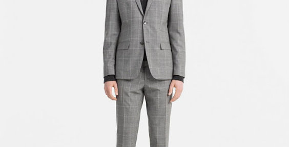 Calvin Klein Blazers & Suits - Men Mid Gray fitted wool checkered suit k10k10148