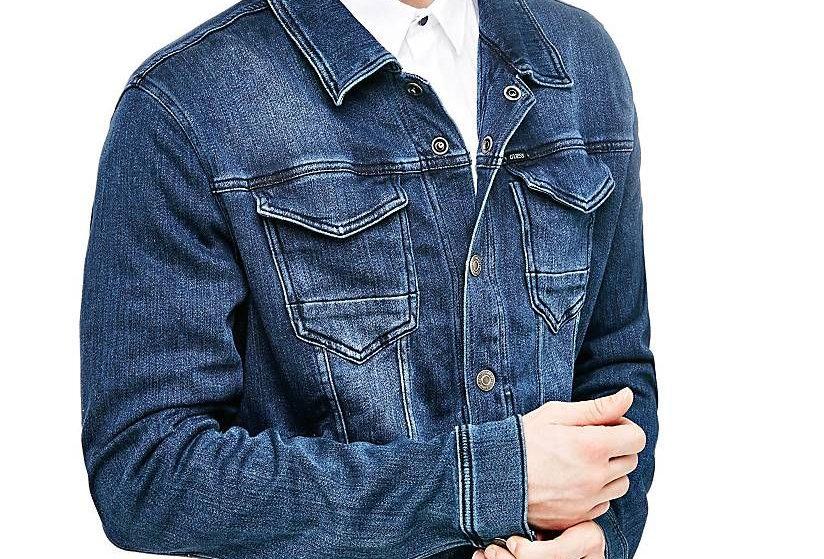 Guess Men's Blue Cotton Denim Jacket 124