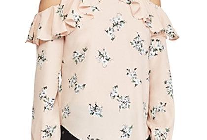 Ralph Lauren Lauren Floral-Print Cold-Shoulder Top In Pink  P111