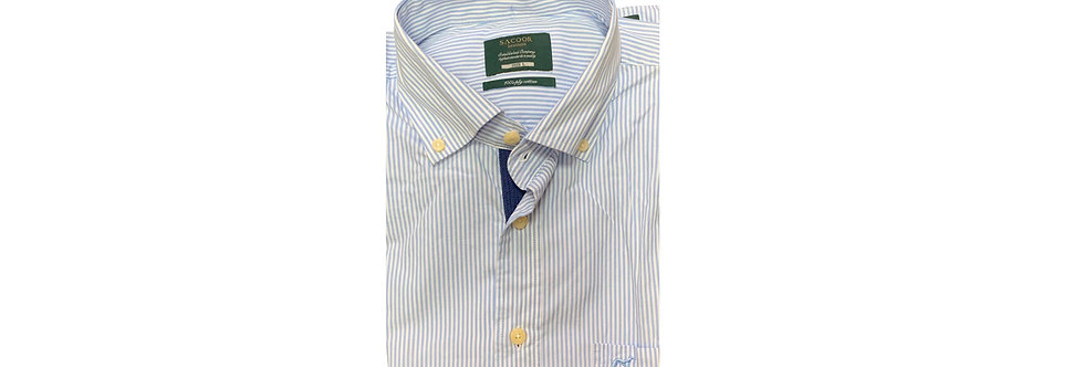 Sacoor Brothers Stopped Soft Cotton Men's Shirt Blue Line P150