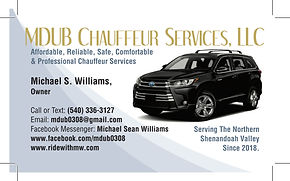MDUB Chauffeaur Services - Business Card