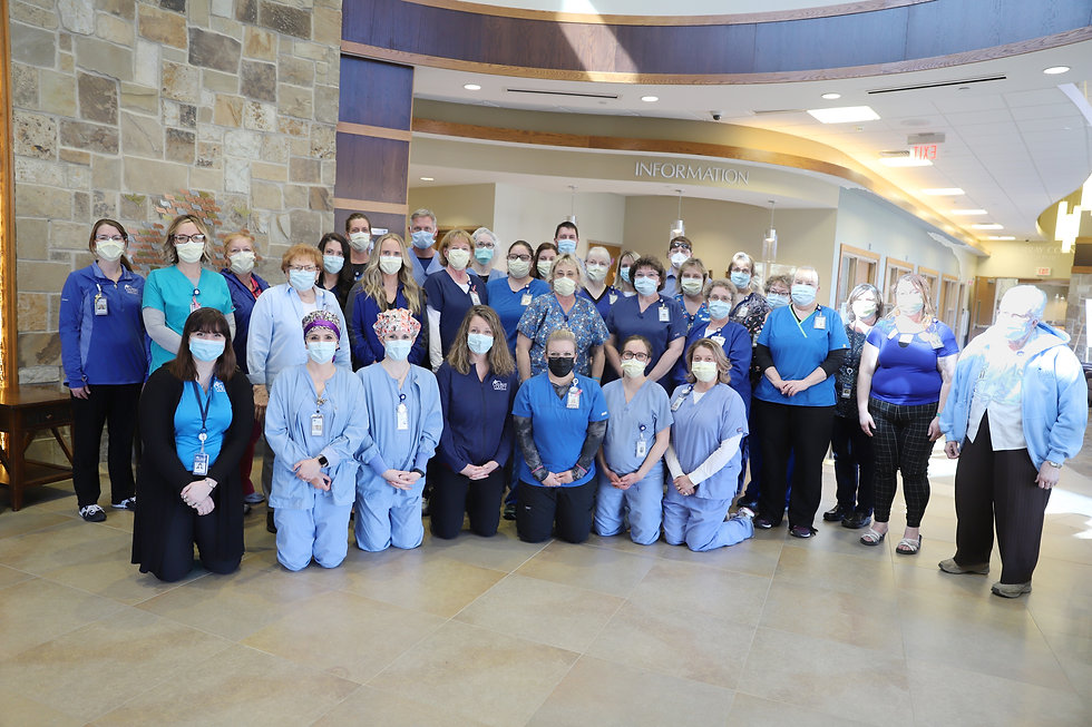 MCMC staff wearing blue to raise awareness for colorectal cancer