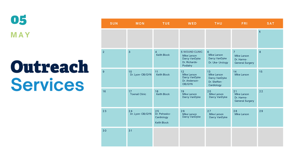May 2021 Calendar of Outreach Services