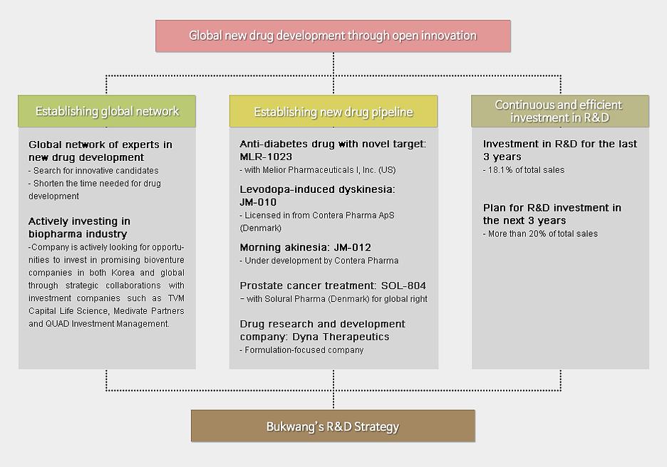 Open innovation을 통한 글로벌 신약 개발, Global Network 구축, 난치성 질환 치료 집중, 지속적/효육적 R&D투자, 부광약품 R&D 성공 Know how
