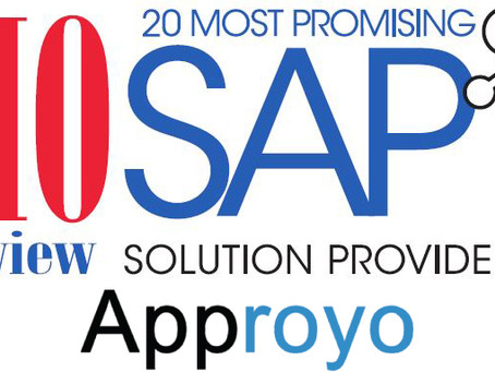 Approyo Recognized Among 20 Most Promising SAP Solution Providers 2016 by CIOReview