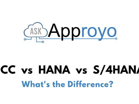 What's the difference? SAP ECC vs SAP HANA vs SAP S/4HANA