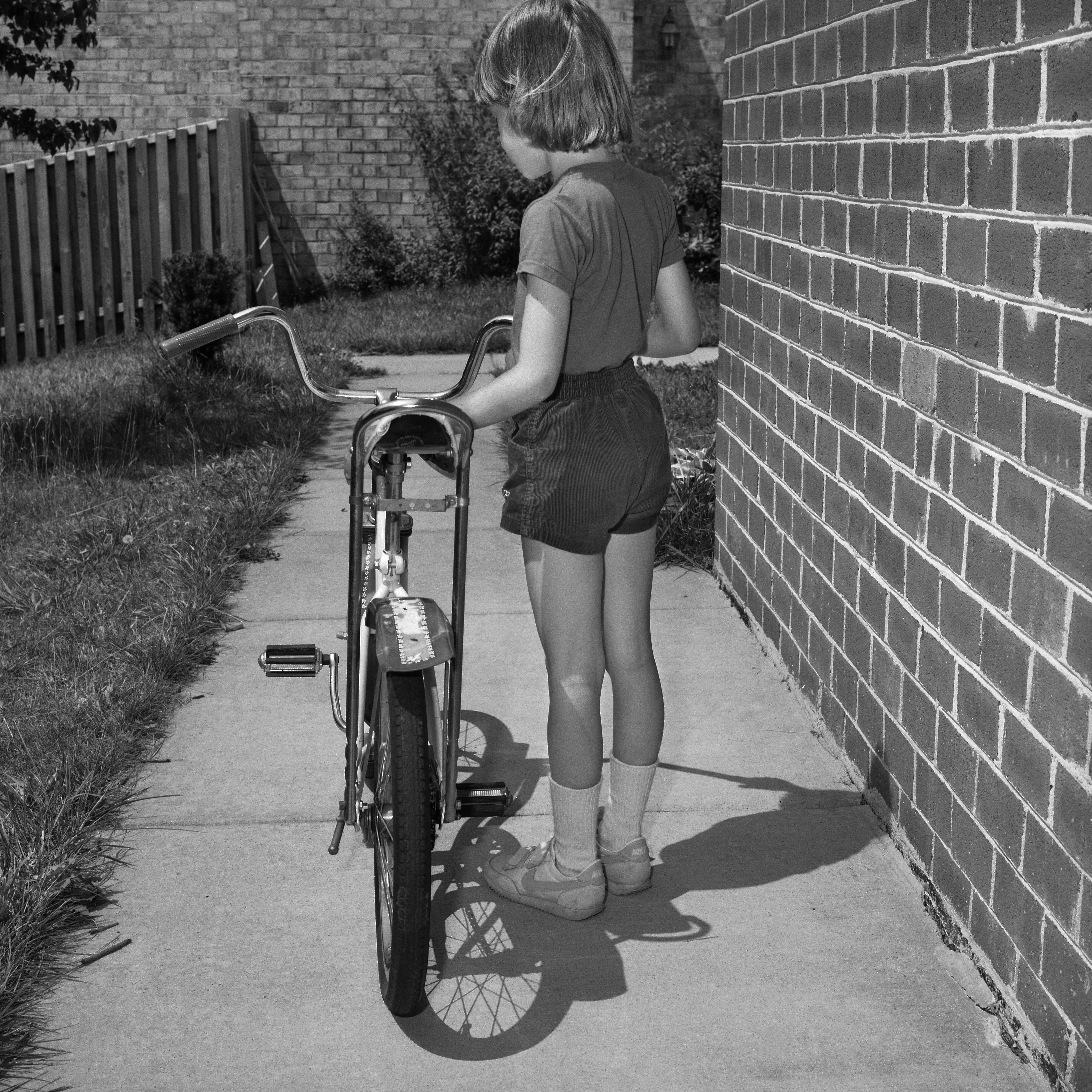 '84 Alison with bicycle, Columbia, MD,