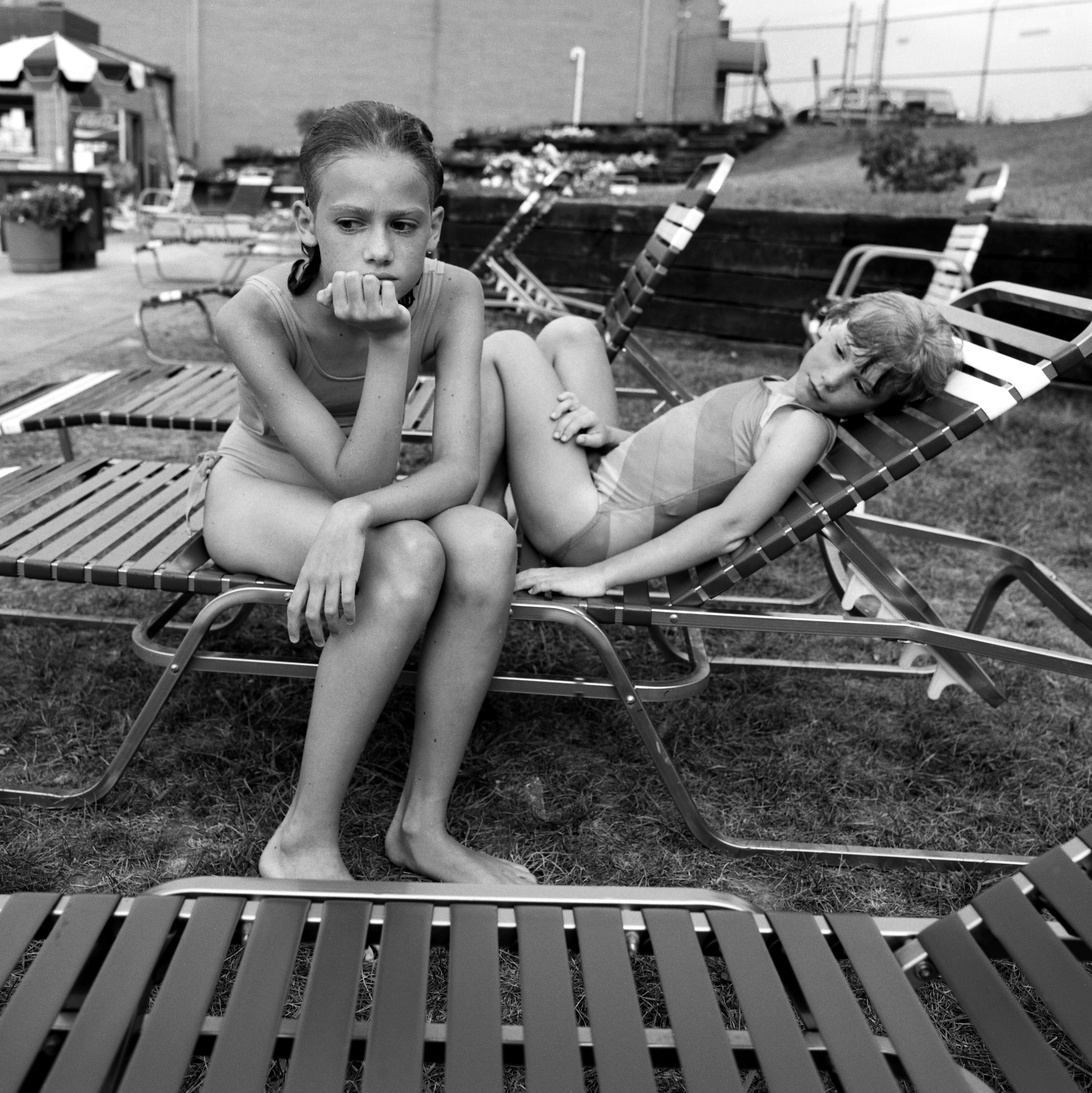 '87 Alison and Julia at the pool, Bel Air, MD2
