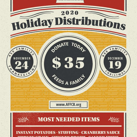 Feed A Family!   Holiday distribution coming up!
