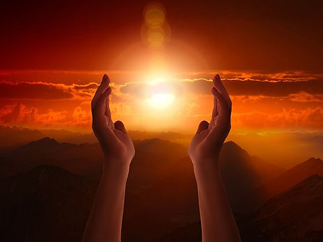hands-sunset-mountains-cloud- red orange