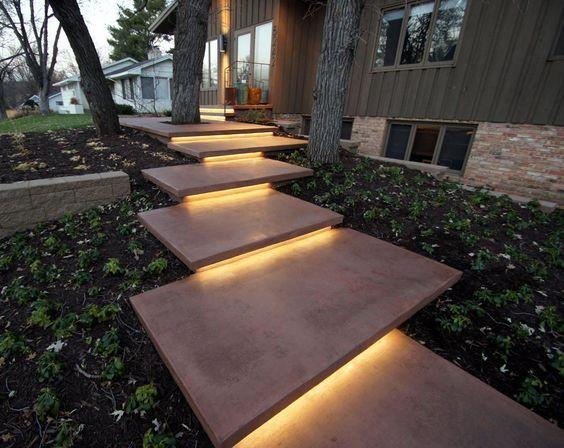 led lights floating concrete