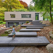 Black large concrete floating steps