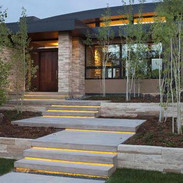 LED light concrete stairs