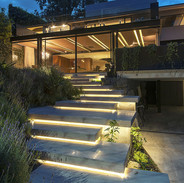 lights under concrete stairs