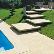 poolside concrete stairs
