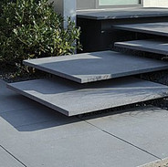 black thin concrete stairs