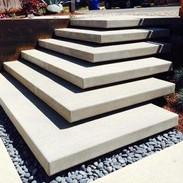 floating corner steps concrete