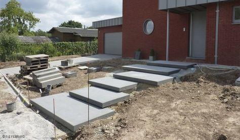 floating block concrete steps