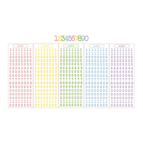typewriter number pastel seal pack (25g)