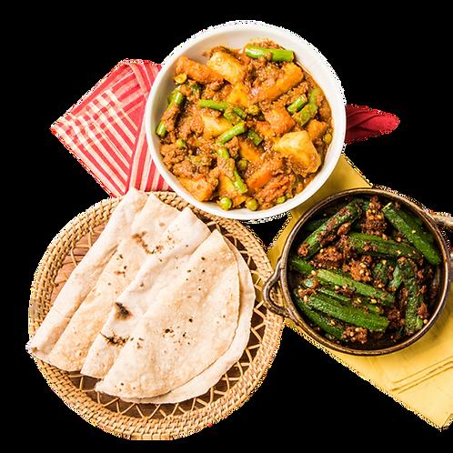 Combo of Bhindi & Masala Mix Veg served with Roti & Curd