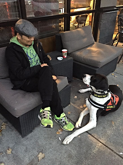Me and my dog sitting outside of Starbucks