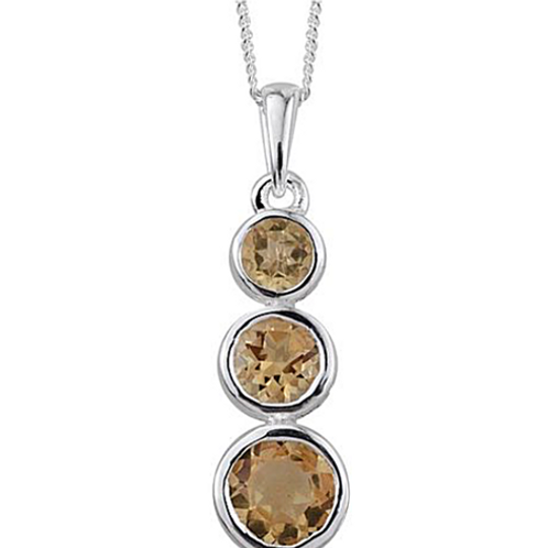 Citrine (Rnd 0.75 Ct) 3 Stone Necklace in Platinum Overlay Sterling Silver 1.500