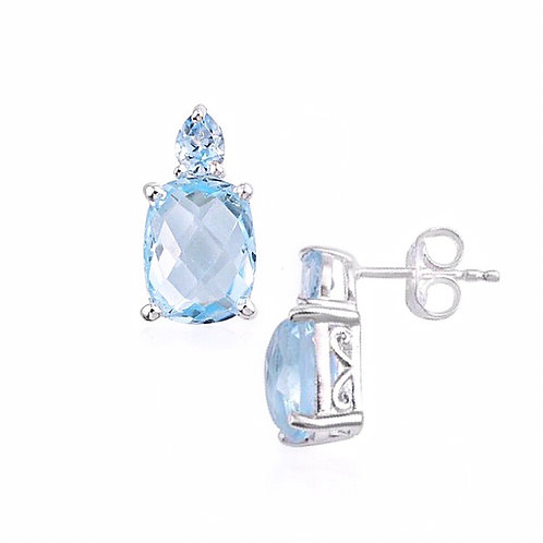 Sky Blue Topaz (Cush) Earrings in Sterling Silver 5.750 Ct.