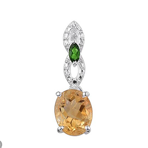 Citrine (Ovl 1.70 Ct), Russian Diopside Necklace in Sterling Silver 1.750 Ct.