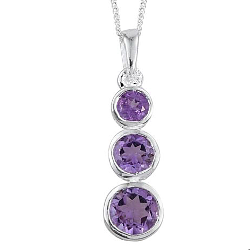 Amethyst (Round - 0.75 Ct) 3 Stone Necklace in Platinum Overlay Sterling Silver