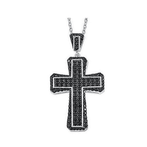 Boi Ploi Black Spinel and Natural Cambodian Zircon REVERSIBLE Cross Necklace