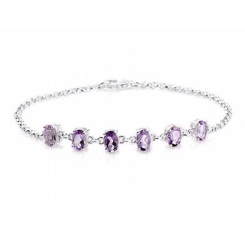 Rose De France Amethyst (Oval) Bracelet in Sterling Silver Size 7.5 inch