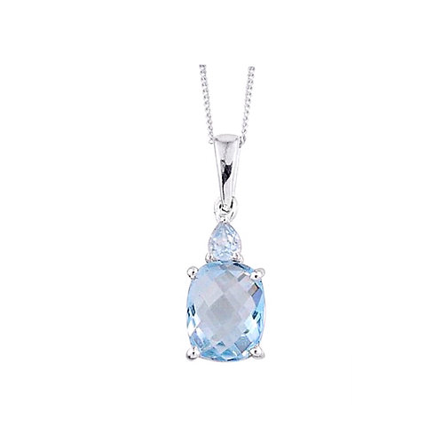 Sky Blue Topaz (Cush 2.80 Ct) Necklace in Sterling Silver with Stainless Steel 3