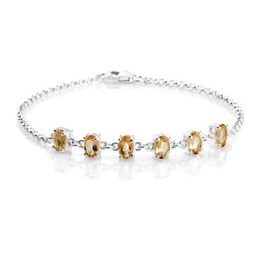 Citrine (Oval) Bracelet in Sterling Silver (Size: 7.5 Inch)