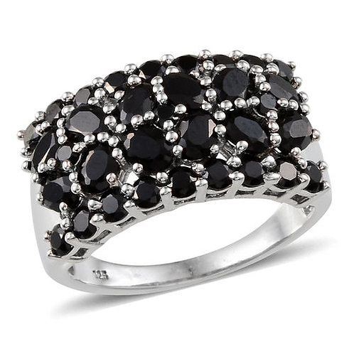 Boi Ploi Black Spinel (Ovl) Ring in Platinum Overlay Sterling Silver 4.750 Ct.