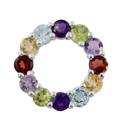 Circle of Life Multi-Gemstones Sterling Silver Necklace; Mozambique Garnet, Sky