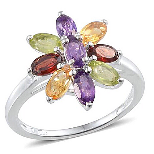 Amethyst (Ovl), Mozambique Garnet, Citrine and Hebei Peridot Floral Ring in Ster