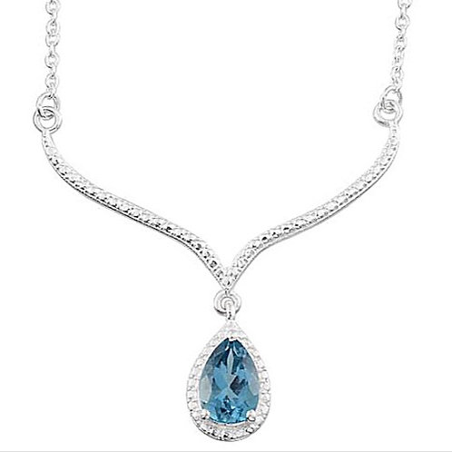 London Blue Topaz (Pear) Solitaire Necklace (size 18) in Platinum Overlay Sterli