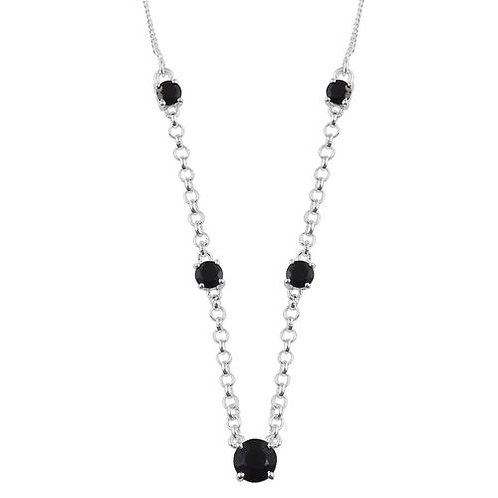 Boi Ploi Black Spinel Necklace (Size 18) in Sterling Silver 2.25 Ct.