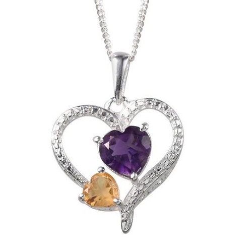 Amethyst (Hrt 1.00 Ct), Citrine Heart Necklace in Sterling Silver 1.250 Ct.
