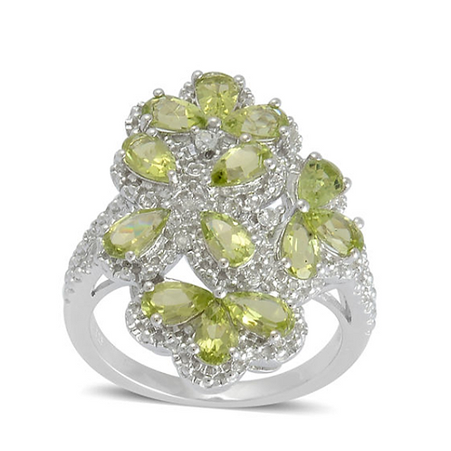 Hebei Peridot (Pear), White Topaz Ring in Platinum Overlay Sterling Silver 2.838