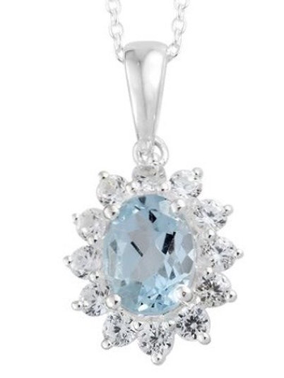 Sky Blue Topaz (Oval 1.45 ct.) Natural Cambodian Zircon (2.250 ct.) Necklace